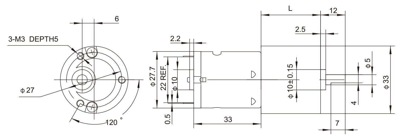 Gear-box-Motor_33JPF2833_Outline-drawing